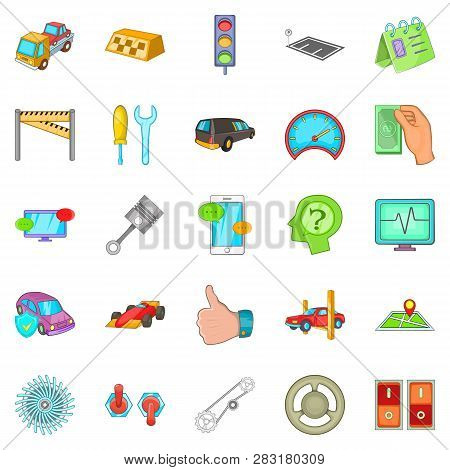 Car Overhaul Icons Set. Cartoon Set Of 25 Car Overhaul Icons For Web Isolated On White Background
