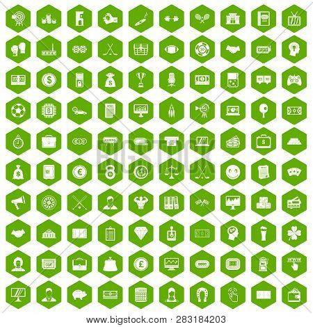 100 Sweepstakes Icons Set In Green Hexagon Isolated Illustration