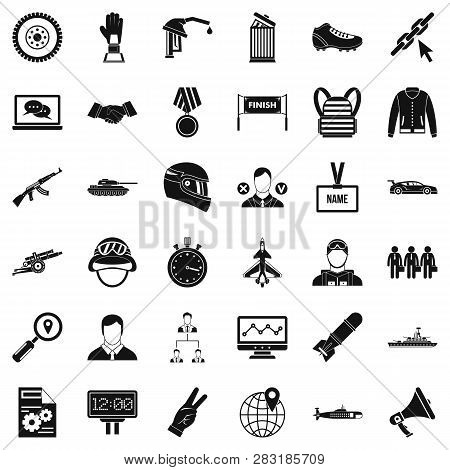 Victory Icons Set. Simple Style Of 36 Victory Icons For Web Isolated On White Background