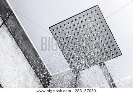 Fresh Shower. Head Shower With Running Water. Shower With Drops Of Water. Drops And Streams Of Water