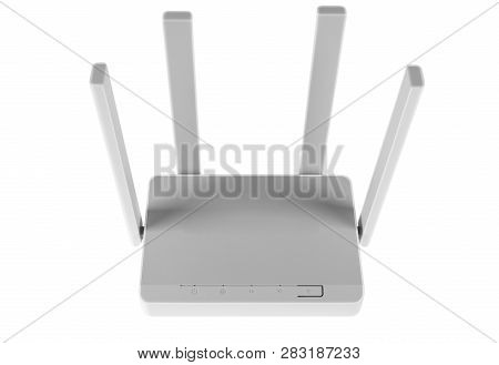 Wireless Wi-fi Router Isolated On White Background. Wifi Technology Concept. White Wireless Internet