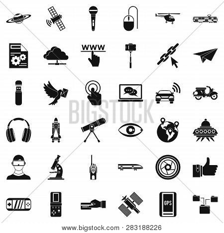 Wireless Technology Icons Set. Simple Style Of 36 Wireless Technology Icons For Web Isolated On Whit