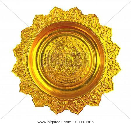 Golden Tray On White Background