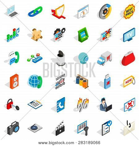Www Icons Set. Isometric Style Of 36 Www Icons For Web Isolated On White Background