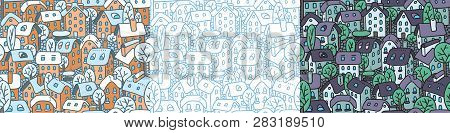 Cute Seamless Pattern With Houses And Courtyards