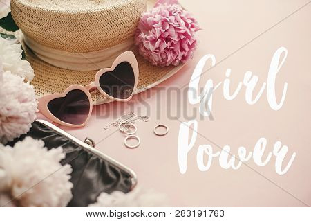 Girl Power Text Sign At Stylish Girly Pink Retro Sunglasses, Peonies, Jewelry, Hat, Purse On Pastel