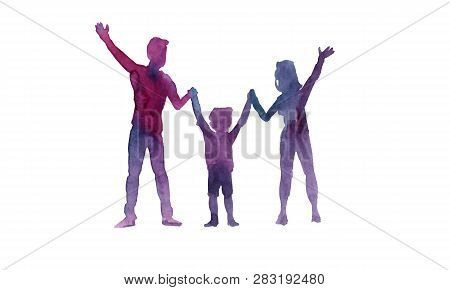 Watercolor Silhouettes Of Father, Mother And Child