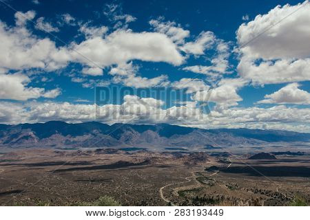 Looking Down At The Alabama Hills Recreation Area In Lone Pine California From The Whitney Portal Ro