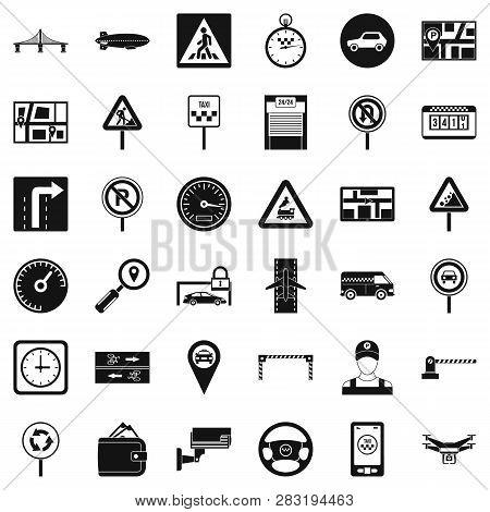 Hard Traffic Icons Set. Simple Style Of 36 Hard Traffic Icons For Web Isolated On White Background