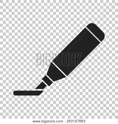 Highlighter Marker Pen Icon In Flat Style. Highlight Illustration On Isolated Transparent Background