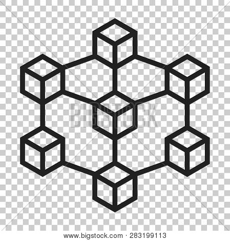 Blockchain Technology Vector Icon In Flat Style. Cryptography Cube Block Illustration On Isolated Tr