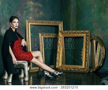 Beauty Rich Brunette Woman With A Lot Of Jewellery, Hispanic Curly Lady In Rich Luxury Interior