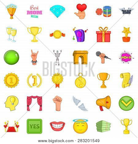 Best Winning Icons Set. Cartoon Style Of 36 Best Winning Icons For Web Isolated On White Background