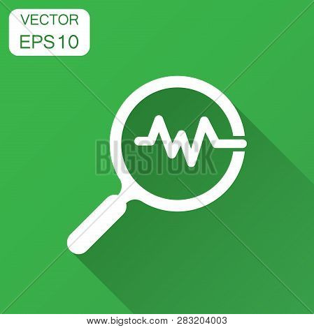 Magnifying Glass Icon With Pulse. Vector Illustration With Long Shadow. Business Concept Loupe Analy