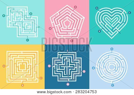 Maze Entrance. Find Right Way, Kids Labyrinth Game And Choice Mazes Entrances Letters Vector Illustr