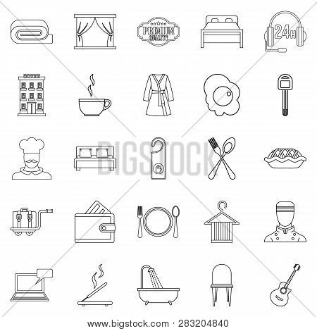 Hostel Icons Set. Outline Set Of 25 Hostel Icons For Web Isolated On White Background