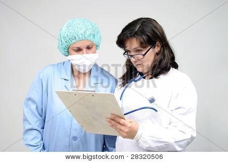 Doctor isolated on white, beautiful nurse woman, healthcare photo