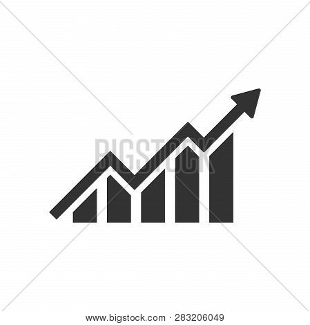 Growing Bar Graph Icon In Flat Style. Increase Arrow Vector Illustration On White Isolated Backgroun