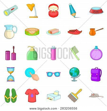 Menage Icons Set. Cartoon Set Of 25 Menage Icons For Web Isolated On White Background