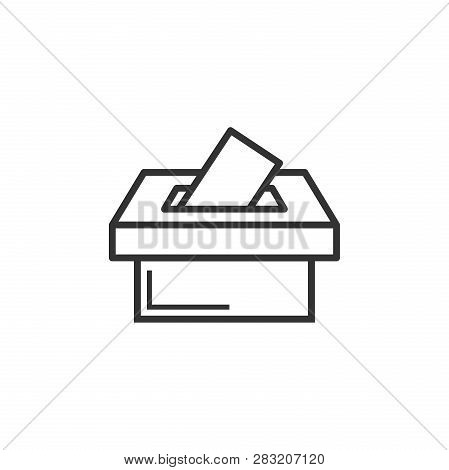 Election Voter Box Icon In Flat Style. Ballot Suggestion Vector Illustration On White Isolated Backg