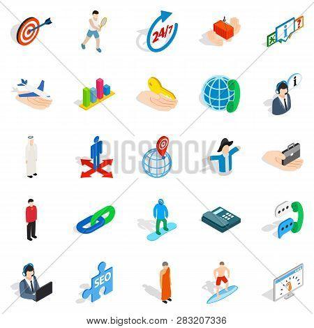 Human Occupation Icons Set. Isometric Set Of 25 Human Occupation Icons For Web Isolated On White Bac