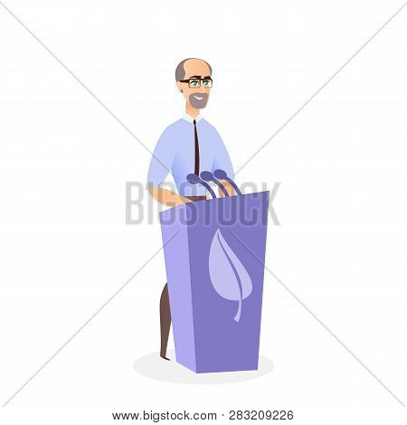 Illustration Man Giving Speech Ecological Summit. Vector Image An Adult Bearded Man Standing Behind