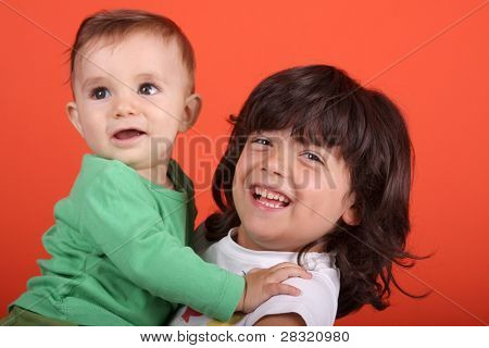 beautiful Girl with Baby, Vettern, Familienfoto