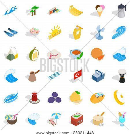 Turkey Tourism Icons Set. Isometric Style Of 36 Turkey Tourism Icons For Web Isolated On White Backg