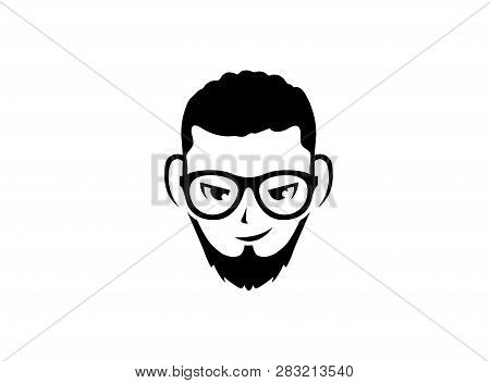 Man Head With Beard And Glasses Brille Und Bart For Logo Design