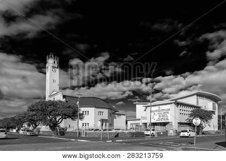 Goodwood, South Africa, August 14, 2018: A Street Scene With The Dutch Reformed Mother Church In Goo