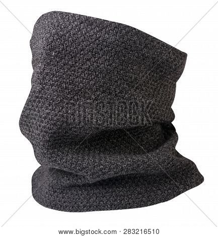 Scarf Wind Mask Isolated On White Background. Wool Scarf .