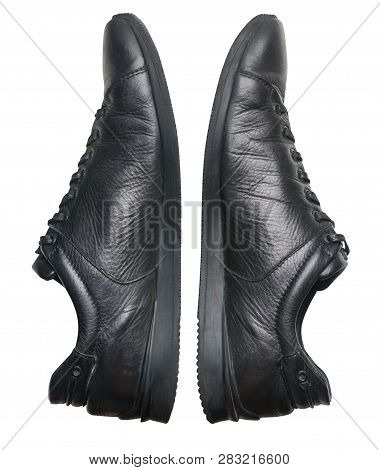 Leather Shoes Isolated On White Background. Leather Casual Shoes.