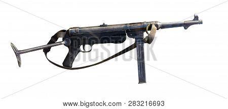 Machine Gun Hand Isolated On A White Background. Machine Gun Manual  During The Second World War.