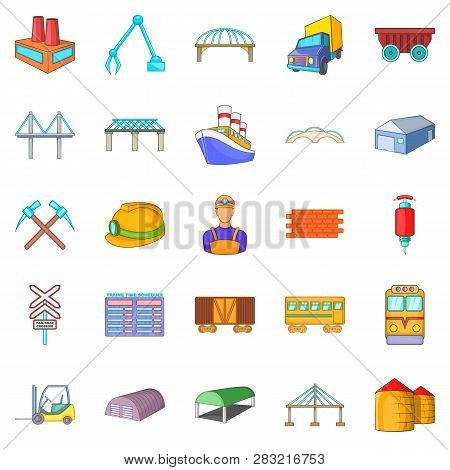 Physical Labor Icons Set. Cartoon Set Of 25 Physical Labor Icons For Web Isolated On White Backgroun