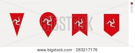 Isle Of Man Flag In Vertical Design, Vector Illustration.