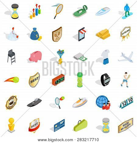 Great Victory Icons Set. Isometric Style Of 36 Great Victory Icons For Web Isolated On White Backgro