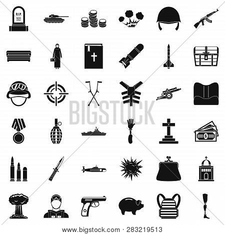 War Offence Icons Set. Simple Style Of 36 War Offence Icons For Web Isolated On White Background
