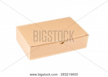 Brown Cardboard Box Closed Blank For Advertising Text