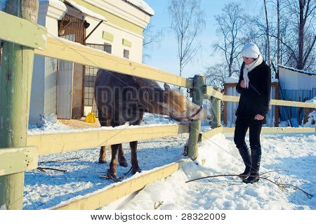 Winter Girl in a coat near horse