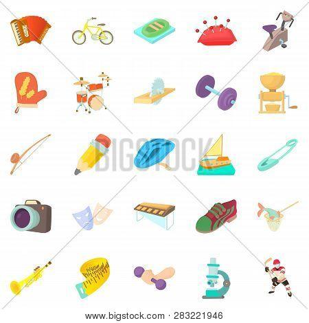 Outside Interest Icons Set. Cartoon Set Of 25 Outside Interest Icons For Web Isolated On White Backg
