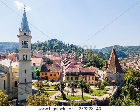 Spires And Red Tiled Roofs Of Walled Old Town Of Sighisoara Or Sighishoara, Mures, Transylvania, Rom