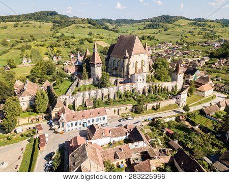 Biertan Town And Biertan Lutheran Evangelical Fortified Church In Sibiu County, Transylvania, Romani
