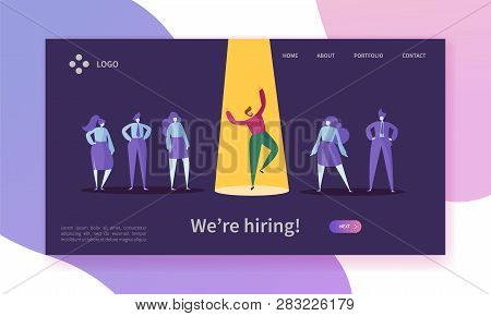 Business Job Recruitment Concept Landing Page. Employer Choosing Professional Man Character Of Candi