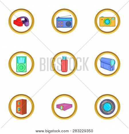 Home Gadgets Icons Set. Cartoon Set Of 9 Home Gadgets Icons For Web Isolated On White Background