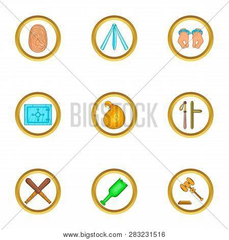 Court Case Icons Set. Cartoon Set Of 9 Court Case Icons For Web Isolated On White Background