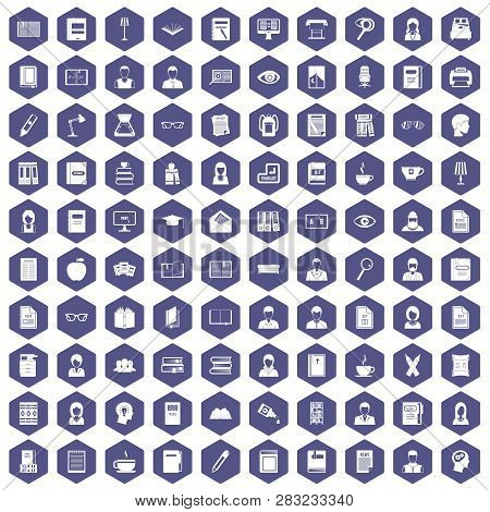 100 Reader Icons Set In Purple Hexagon Isolated Illustration