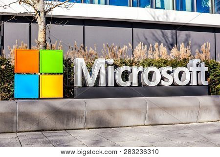 Munich, Germany - December 26, 2018: Microsoft Logo At The Company Office Building Located In Munich