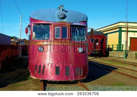 January 19, 2019 In Ft Bragg, Ca:  Vintage Railroad Locomotive Taken At The Skunk Train Depot In Ft