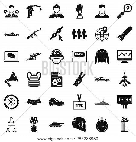 Victory In Sport Icons Set. Simple Style Of 36 Victory In Sport Icons For Web Isolated On White Back