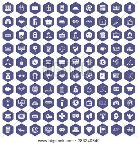100 Sweepstakes Icons Set In Purple Hexagon Isolated Illustration
